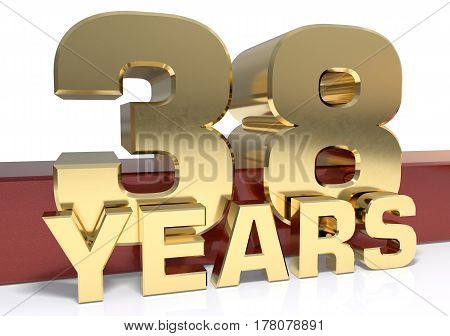 Golden digit thirty eight and the word of the year. 3D illustration