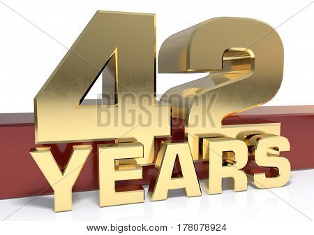 Golden digit forty two and the word of the year. 3D illustration