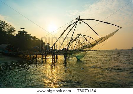 Chinese Fishing Net At Sunset In Cochin