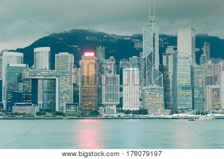 City office building Hong Kong central business downtown cityscape background