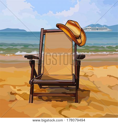 chaise lounge with a hat on sandy beach