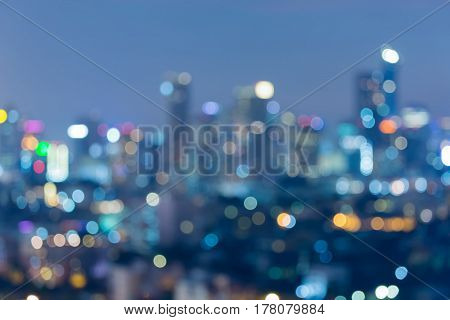 Abstract blurred bokeh light city central business downtown background night view