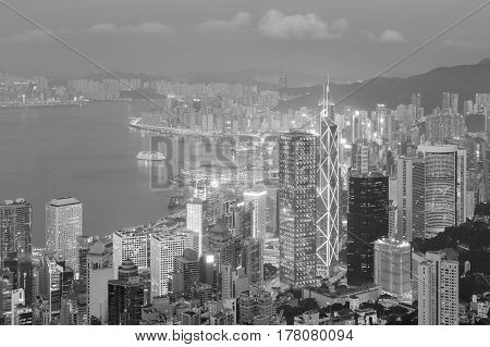 Black and White Hong Kong city business downtown aerial view cityscape background