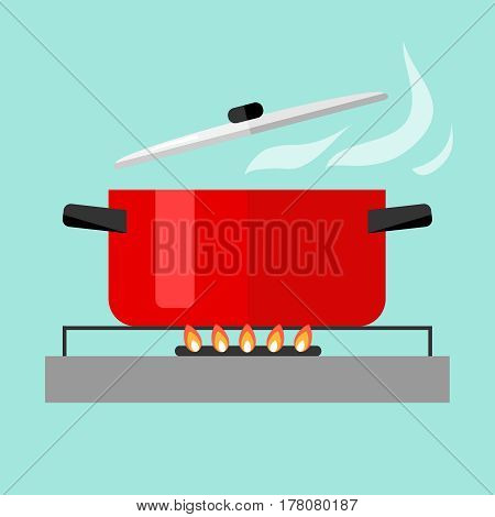 Casserole with soup on fire. Flat design vector illustration vector.