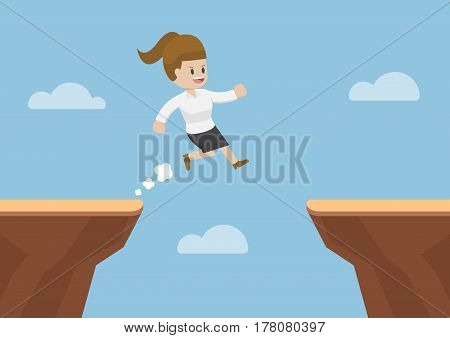 Businesswoman Jump Through The Gap Between Cliff