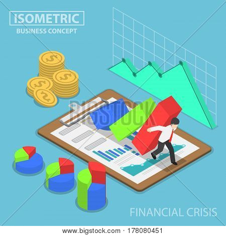 Isometric Businessman Trying To Stop Falling Graph