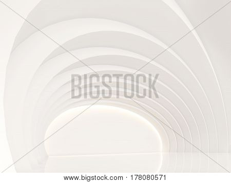 Empty white room modern space interior 3d rendering image.a curve wall with pure white. Decorate wall with hidden light