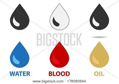 Drop icon. Flat design vector illustration vector.