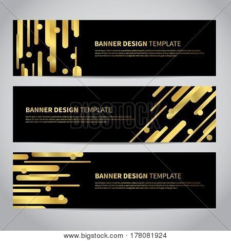 Banner covers with gold geometric pattern on black background. Cool colorful backgrounds. Design for your banners, flyers, brochures, posters, printing etc. Vector template EPS10