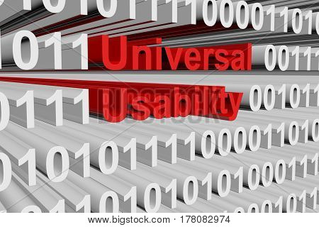 Universal usability in the form of binary code, 3D illustration