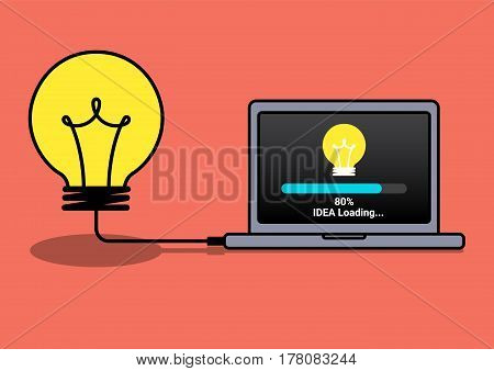idea loading to laptop, transfer data to computer, downloading idea, creative work concept, creative business concept, vector illustration