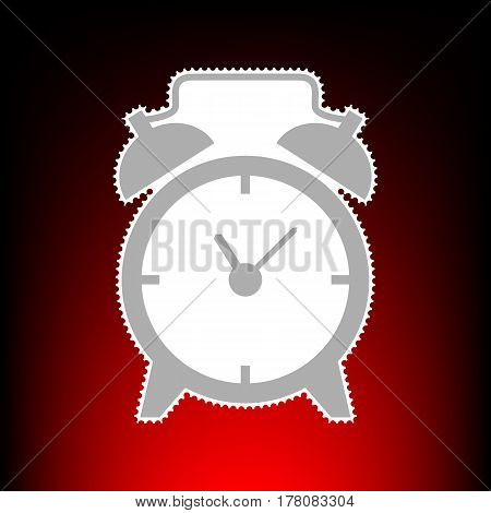 Alarm clock sign. Postage stamp or old photo style on red-black gradient background.