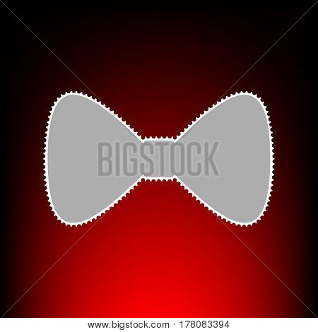 Bow Tie icon. Postage stamp or old photo style on red-black gradient background.