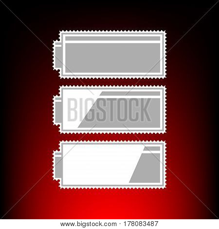 Set of battery charge level indicators. Postage stamp or old photo style on red-black gradient background.