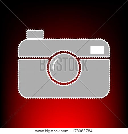 Digital photo camera sign. Postage stamp or old photo style on red-black gradient background.