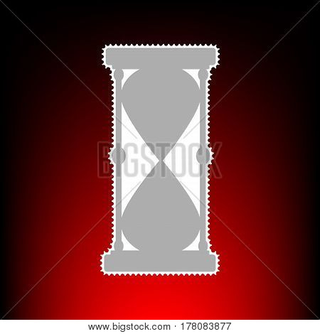 Hourglass sign illustration. Postage stamp or old photo style on red-black gradient background.