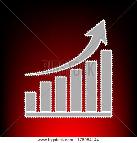 Growing graph sign. Postage stamp or old photo style on red-black gradient background.