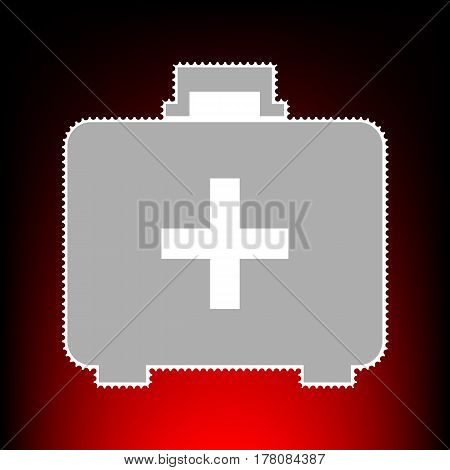 Medical First aid box sign. Postage stamp or old photo style on red-black gradient background.