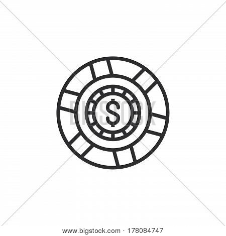 Casino token gaming chip line icon outline vector sign linear pictogram isolated on white. logo illustration