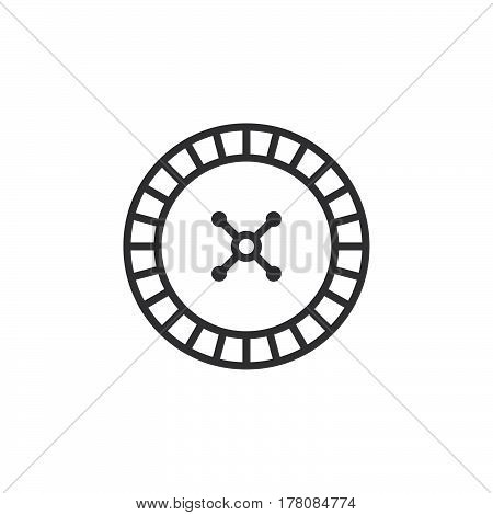 roulette wheel line icon outline vector sign linear pictogram isolated on white. logo illustration