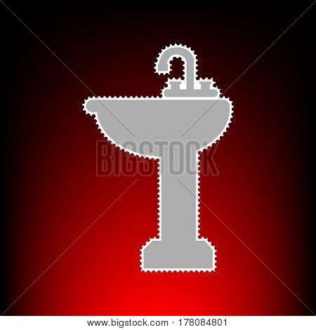 Bathroom sink sign. Postage stamp or old photo style on red-black gradient background.