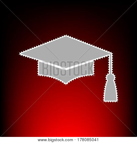 Mortar Board or Graduation Cap, Education symbol. Postage stamp or old photo style on red-black gradient background.