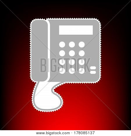 Communication or phone sign. Postage stamp or old photo style on red-black gradient background.