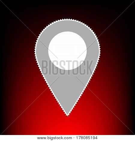 Mark pointer sign. Postage stamp or old photo style on red-black gradient background.
