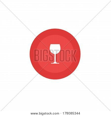 Wine Glass rounded icon. Vector illustration style is flat iconic bicolor symbol inside circle intensive red and black colors white background.
