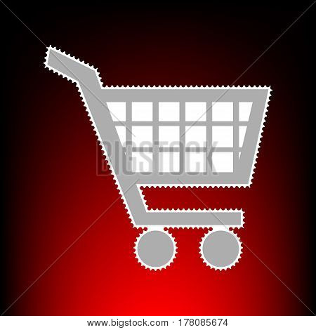 Shopping cart sign. Postage stamp or old photo style on red-black gradient background.