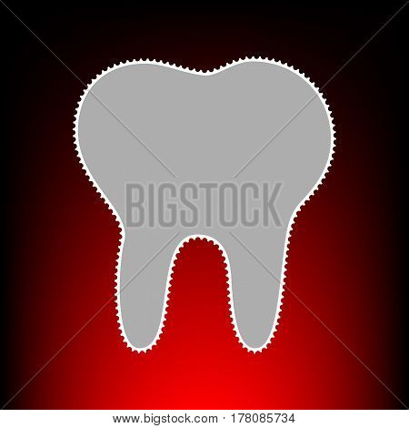 Tooth sign illustration. Postage stamp or old photo style on red-black gradient background.