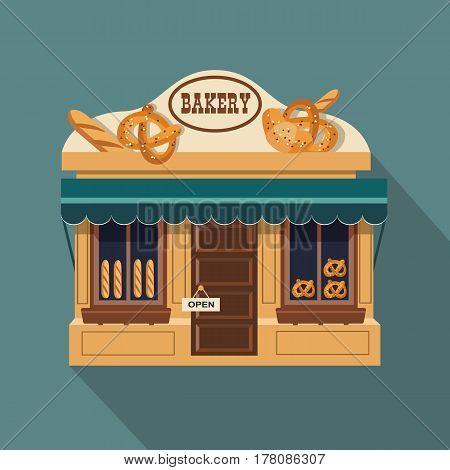 Illustration Of Bakery Little Cute Retro Shop