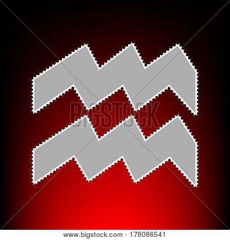 Aquarius sign illustration. Postage stamp or old photo style on red-black gradient background.