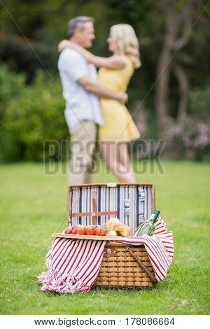 Happy couple hugging next to picnic basket outside
