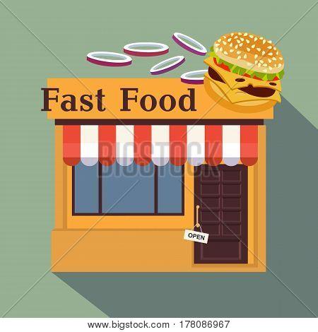Restaurants And Shops Facade, Storefront Vector Detailed Flat Design