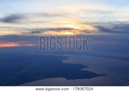 High sky view of marmara sea during sunset