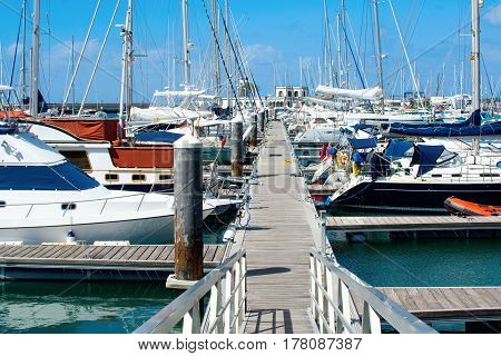 Marina Rubicon in Playa Blanca, Southern part of Lanzarote, Canary islands, view of the sea and the boats