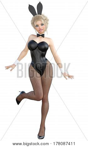 Bunny Girl. Sexy woman long legs in black fishnet tights. Black swimsuit and shoes. Conceptual fashion art. Green  eyes. Seductive candid pose. Photorealistic 3D render illustration. Isolate. Studio.