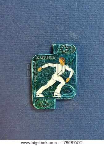 USSR - CIRCA 1980: Badge with a picture of a figure skater and the inscription