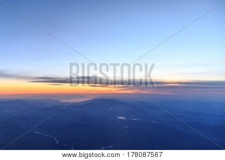 View of Aegean region of turkey from sky during sunset