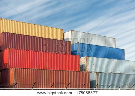 Handling stack of container shipping yard., Container shipping.