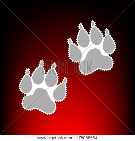Animal Tracks sign. Postage stamp or old photo style on red-black gradient background.