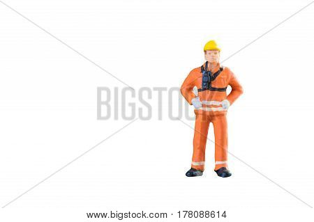 Miniature people engineer and worker occupation isolated with clipping paht on white background. Elegant Design with copy space for placement your text mock up for industrial and construction concept