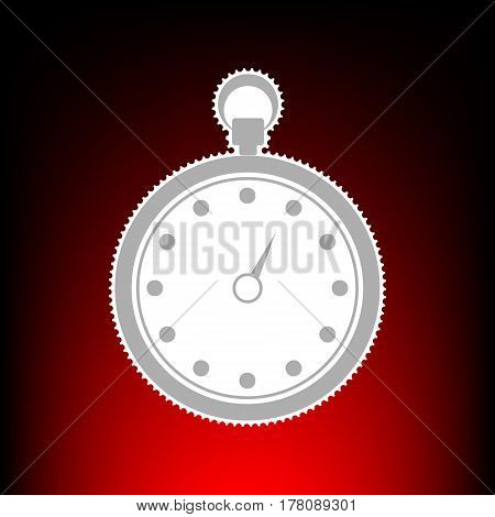 Stopwatch sign illustration. Postage stamp or old photo style on red-black gradient background.