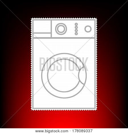 Washing machine sign. Postage stamp or old photo style on red-black gradient background.
