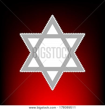 Shield Magen David Star. Symbol of Israel. Postage stamp or old photo style on red-black gradient background.