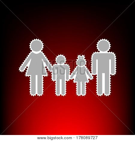 Family sign. Postage stamp or old photo style on red-black gradient background.