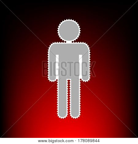 Man sign illustration. Postage stamp or old photo style on red-black gradient background.