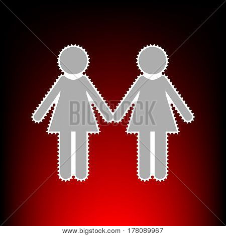 Lesbian family sign. Postage stamp or old photo style on red-black gradient background.
