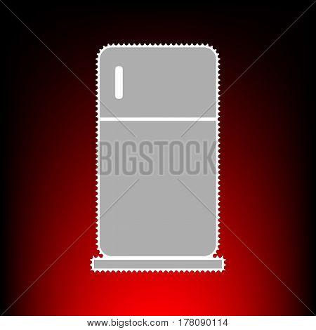 Refrigerator sign illustration. Postage stamp or old photo style on red-black gradient background.